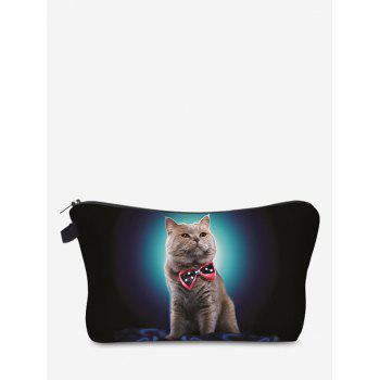 Sac de maquillage d'embrayage 3D Cat Pattern