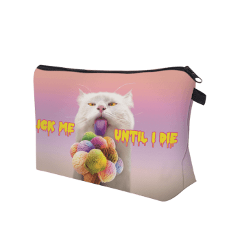 3D Cat Pattern Clutch Makeup Bag - PINKISH PURPLE