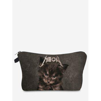 3D Cat Pattern Clutch Makeup Bag - GRAY GRAY