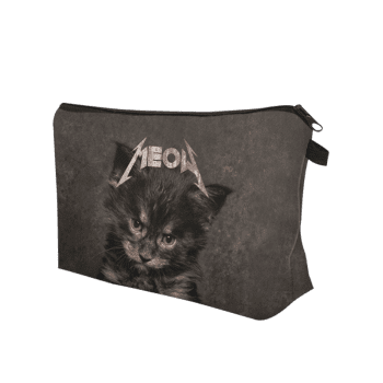 3D Cat Pattern Clutch Makeup Bag -  GRAY