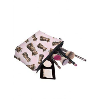 3D Cat Pattern Clutch Makeup Bag -  LIGHT PINK