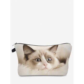3D Cat Pattern Clutch Makeup Bag - OFF-WHITE OFF WHITE