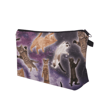 3D Cat Pattern Clutch Makeup Bag -  PURPLE