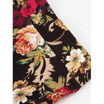 High Waist Floral Print Midi Pleated Skirt - 2XL 2XL