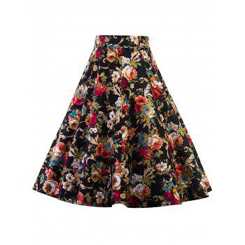 High Waist Floral Print Midi Pleated Skirt - FLORAL 2XL