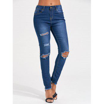 Cut Out Distressed Skinny Jeans - BLUE 2XL