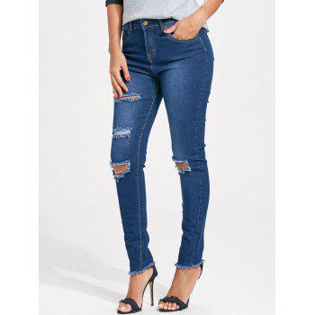 Cut Out Distressed Skinny Jeans - M M