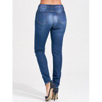 Cut Out Distressed Skinny Jeans - BLUE BLUE