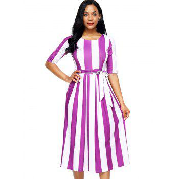 Half Sleeve Striped Midi Dress - PURPLE L