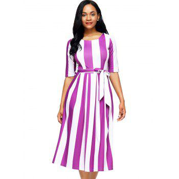 Half Sleeve Striped Midi Dress - PURPLE S