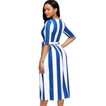 Half Sleeve Striped Midi Dress - BLUE S