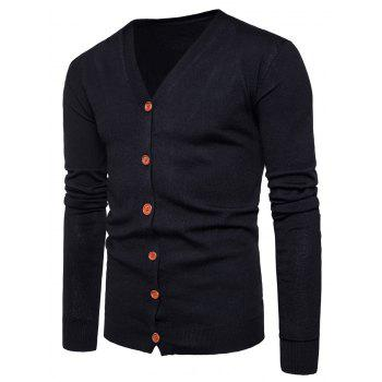 V Neck Button Up Knitting Cardigan - BLACK BLACK