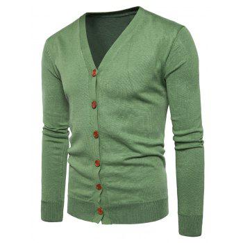 V Neck Button Up Knitting Cardigan - GREEN GREEN