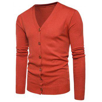 V Neck Button Up Knitting Cardigan - JACINTH JACINTH