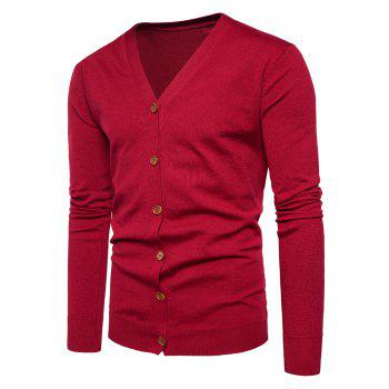 V Neck Button Up Knitting Cardigan - RED RED