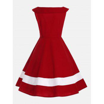 Bowknot Decorated Color Block Sleeveless Vintage Dress - M M