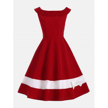 Bowknot Decorated Color Block Sleeveless Vintage Dress - DEEP RED M