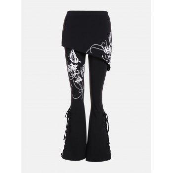 Criss Cross Bottom Print Flare Pants - BLACK 2XL