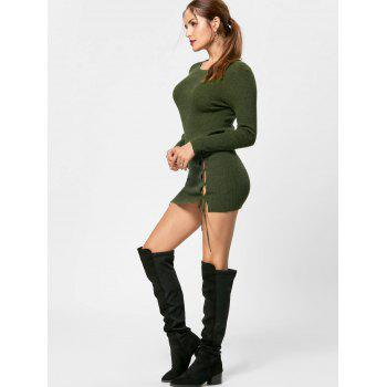 Lace Up Mini Jumper Dress - OLIVE GREEN XL