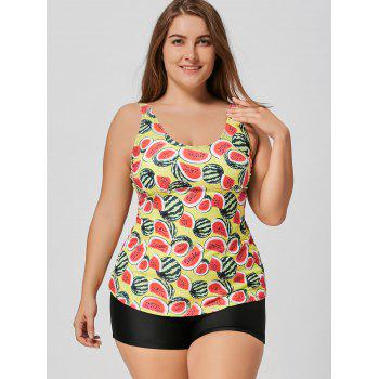 Watermelon Print Plus Size Tankini Set - YELLOW YELLOW