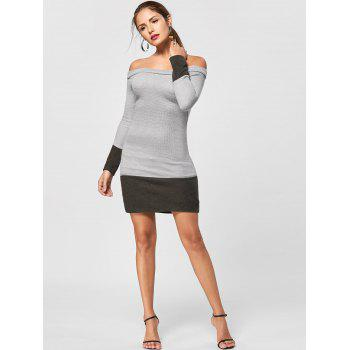 Off The Shoulder Sheath Jumper Dress - GRAY XL
