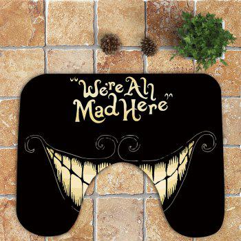 Halloween Mouth Pattern 3Pcs Bath Toilet Mat - BLACK