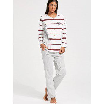 Striped Button Up Nursing PJ Set - RED/WHITE RED/WHITE
