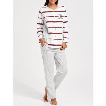 Striped Button Up Nursing PJ Set - RED WITH WHITE RED/WHITE