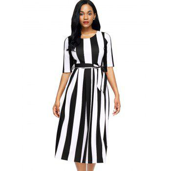 Half Sleeve Striped Midi Dress - BLACK BLACK
