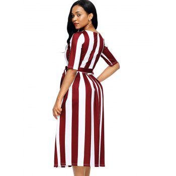 Half Sleeve Striped Midi Dress - RED RED