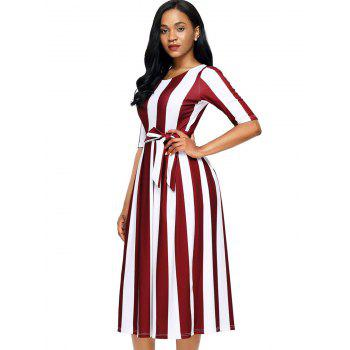 Half Sleeve Striped Midi Dress - RED M