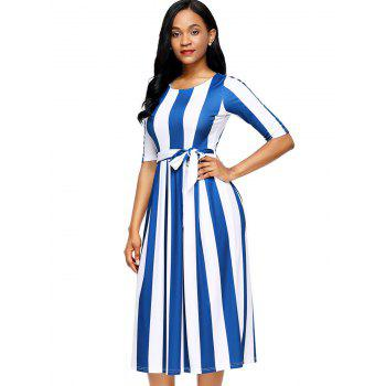 Half Sleeve Striped Midi Dress - BLUE BLUE