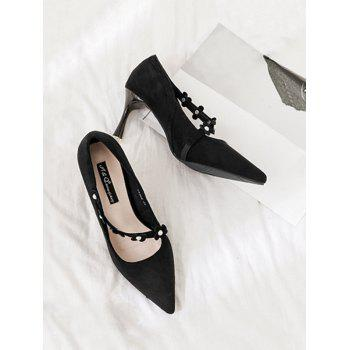 Flowers Pointed Toe Faux Pearls Pumps - BLACK 37