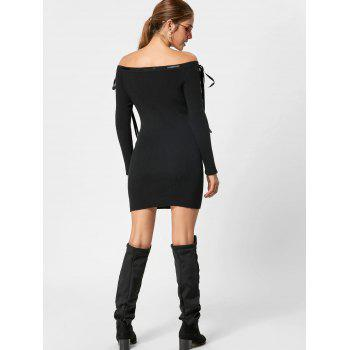Off The Shoulder Jumper Dress - BLACK BLACK