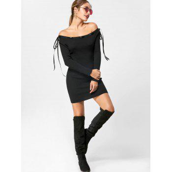 Off The Shoulder Jumper Dress - BLACK M