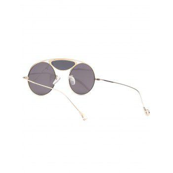 Metallic Camber Long Crossbar Round Sunglasses - BLACK