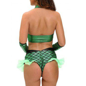Fish Scale Mermaid Cosplay Costume - GREEN GREEN