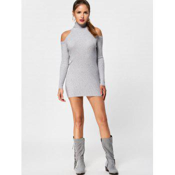 Turtleneck Cold Shoulder Jumper Dress - LIGHT GREY 2XL