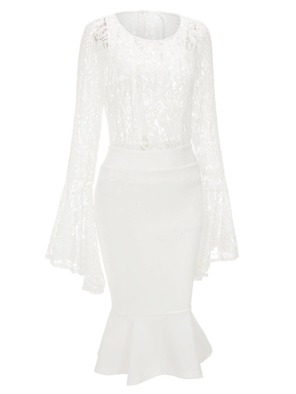 Bell Sleeve Lace Top and Mermaid Skirt - WHITE 2XL