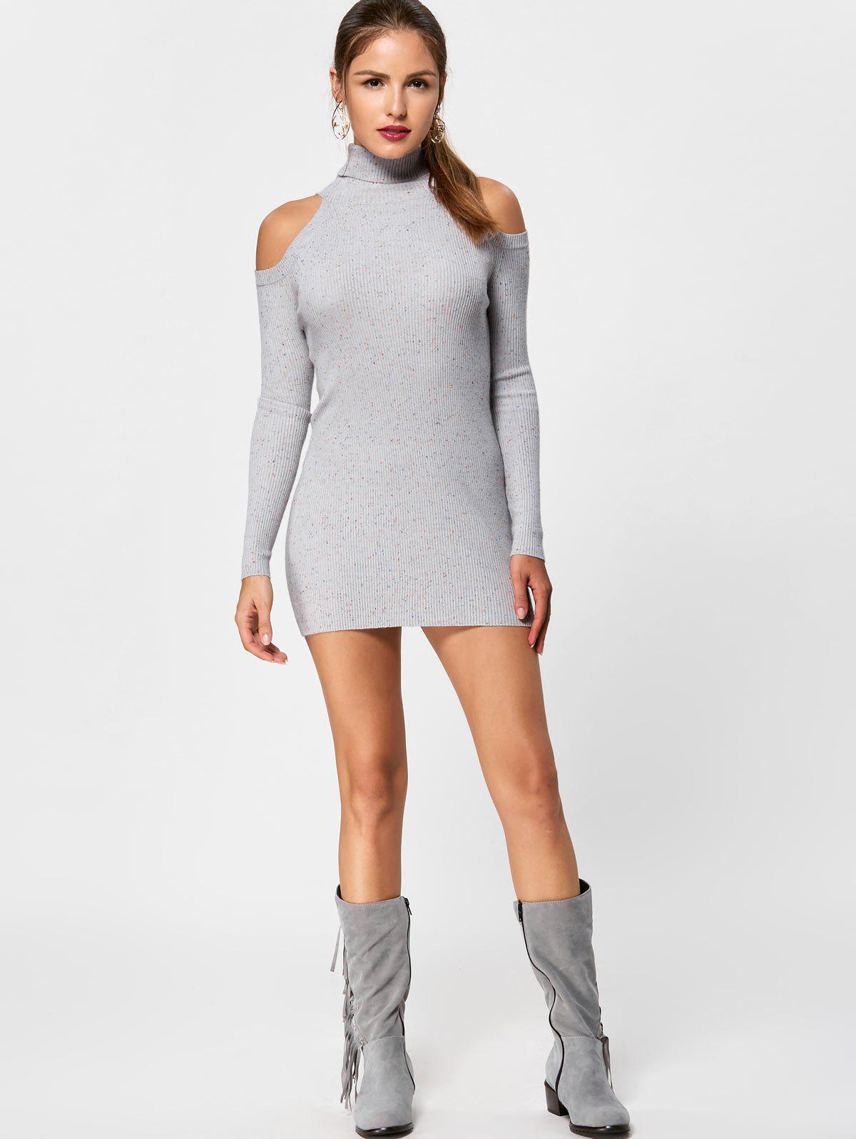 Turtleneck Cold Shoulder Jumper Dress - LIGHT GREY L