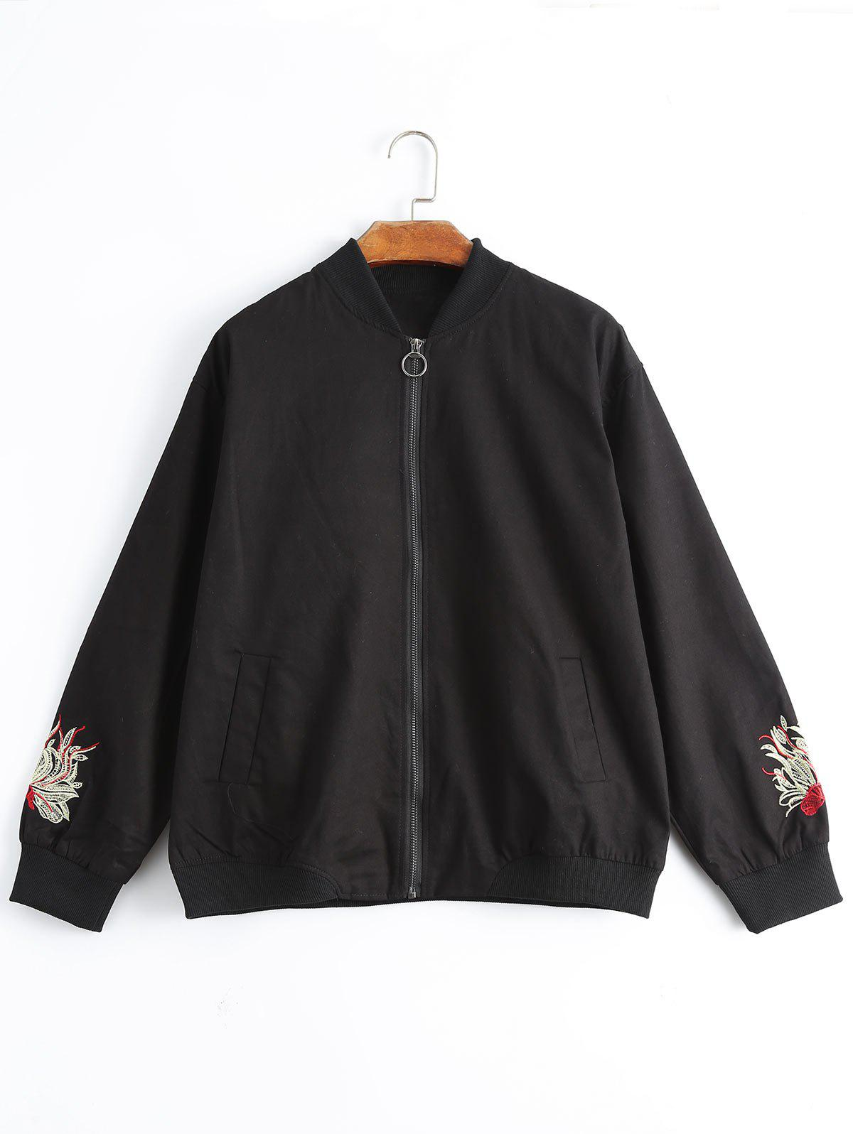 Plus size floral embroidered jacket black xl in