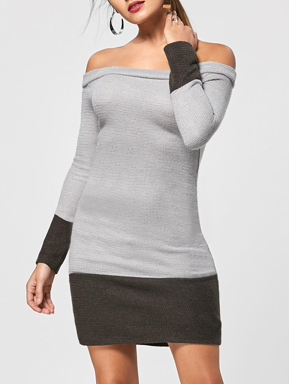 Off The Shoulder Sheath Jumper Dress - GRAY L