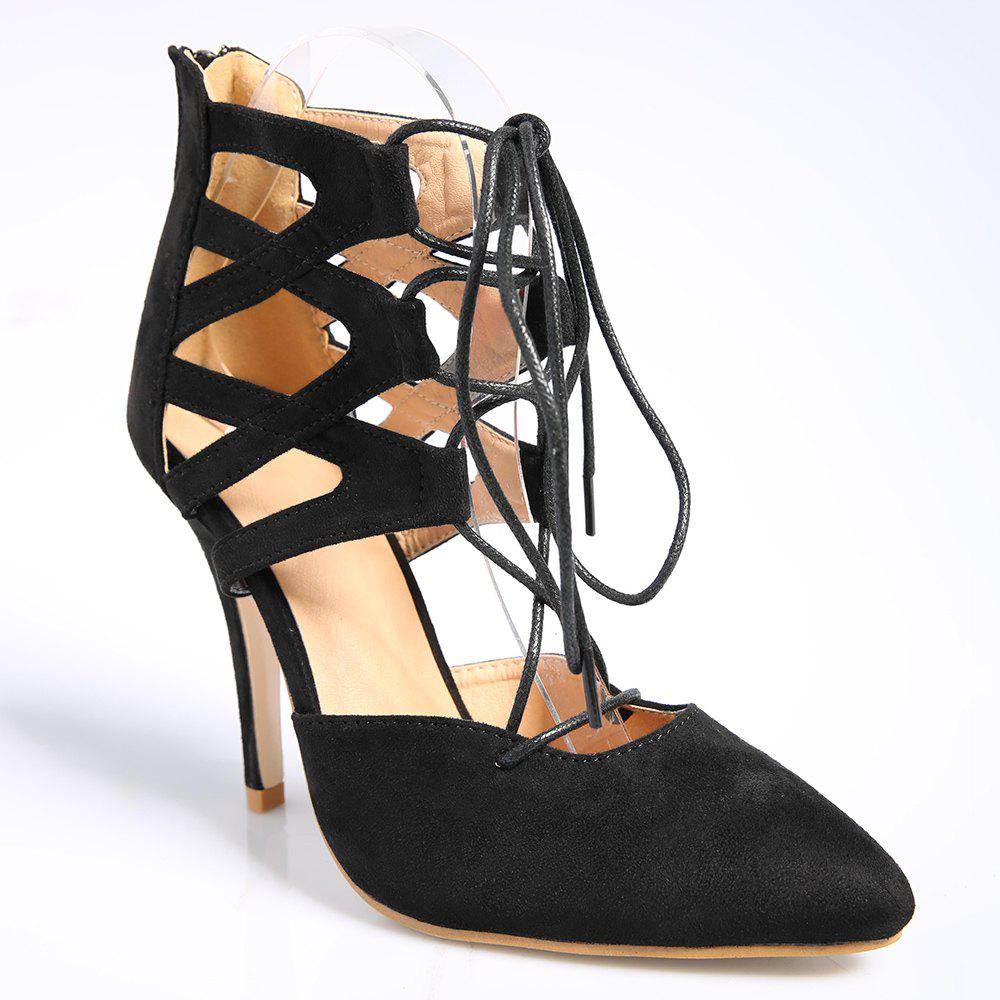 Zipper Lace Up Pointed Toe Pumps