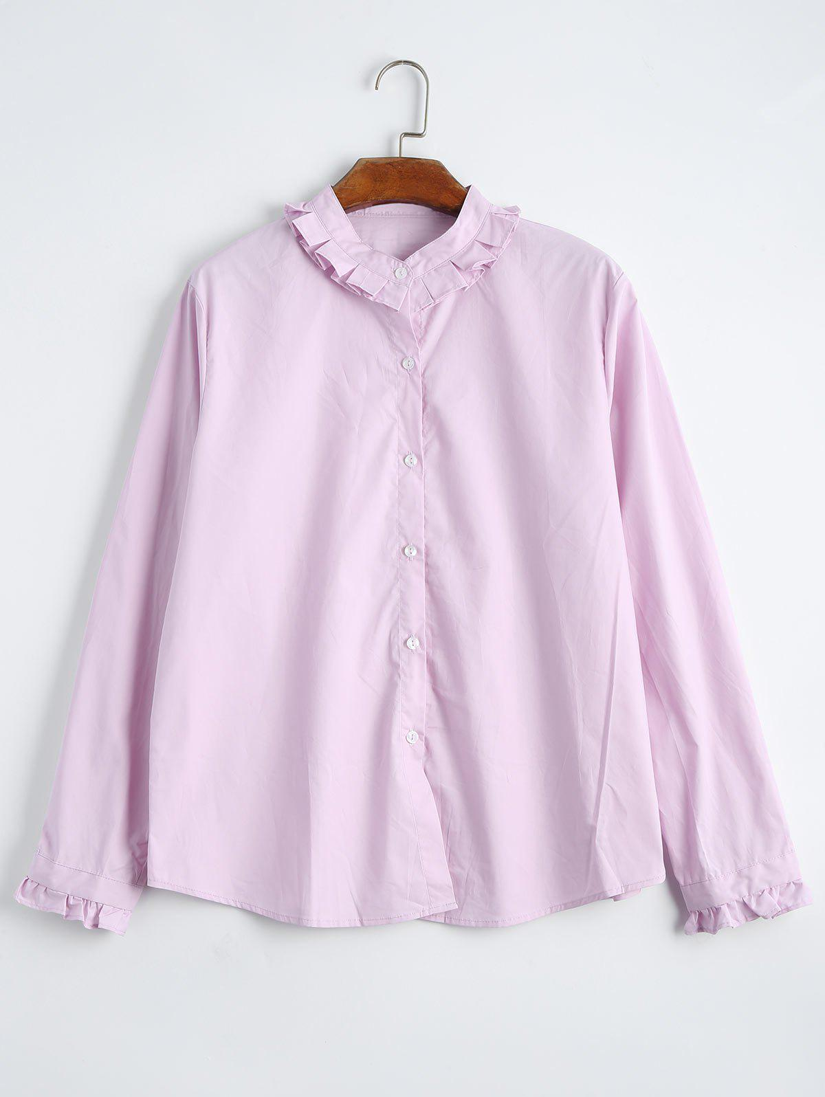 Plus Size Ruffle Neck Shirt Light Pink Xl In Plus Size