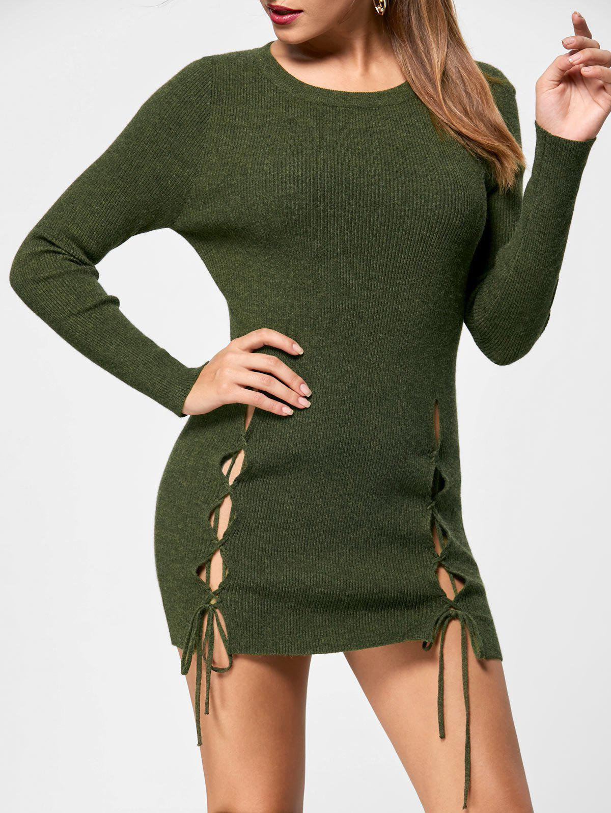 Lace Up Mini Jumper Dress - OLIVE GREEN 2XL
