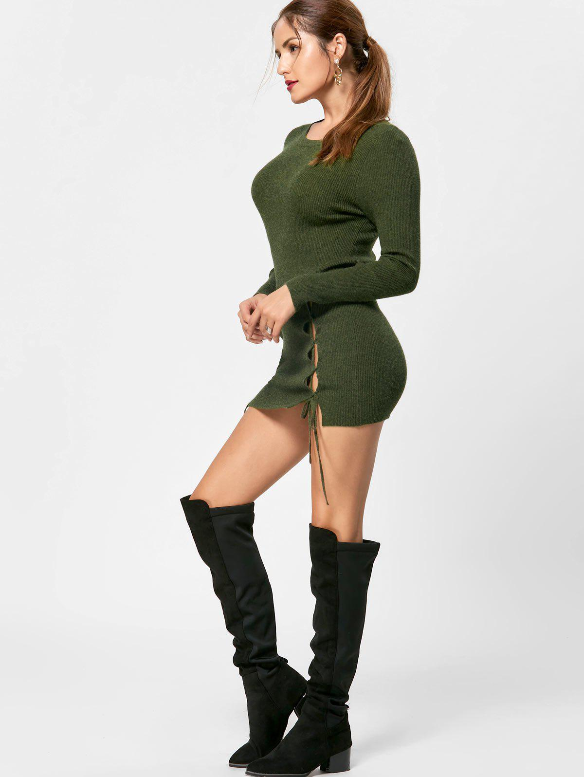 Lace Up Mini Jumper Dress - OLIVE GREEN M