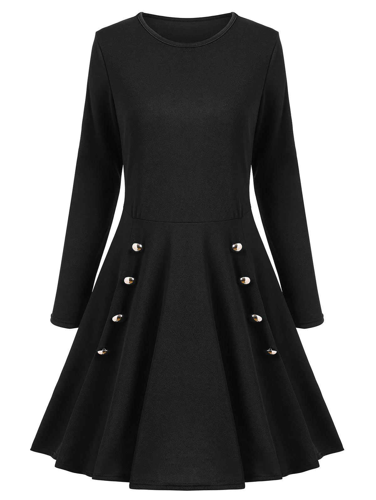A Line Long Sleeves Buttoned Dress - BLACK XL