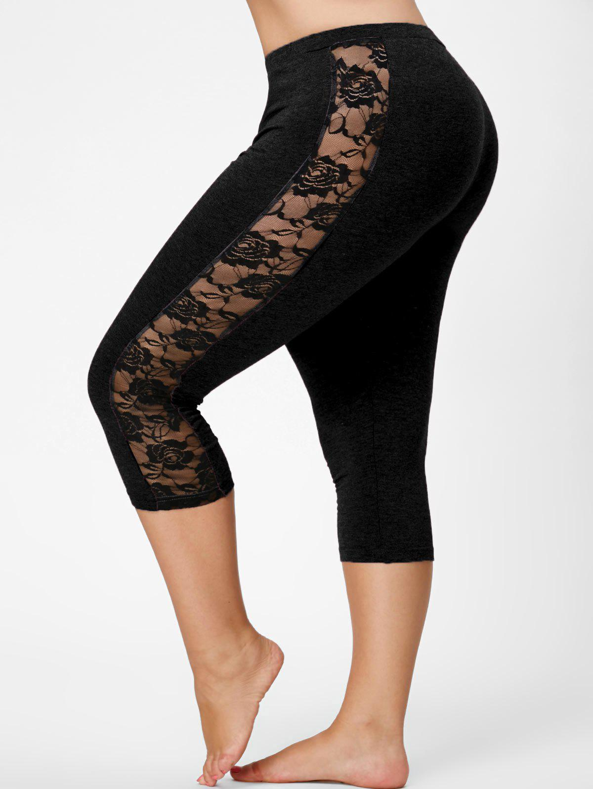 Lace Mesh Panel Plus Size Capri Leggings sheer plus size mesh panel workout leggings