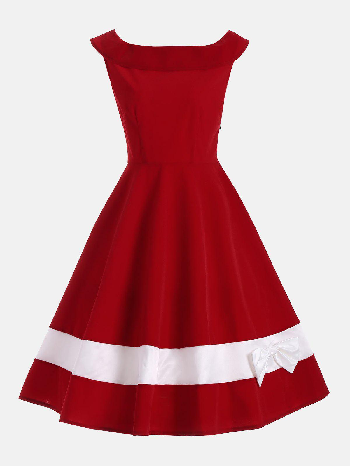 Bowknot Decorated Color Block Sleeveless Vintage Dress - DEEP RED 2XL