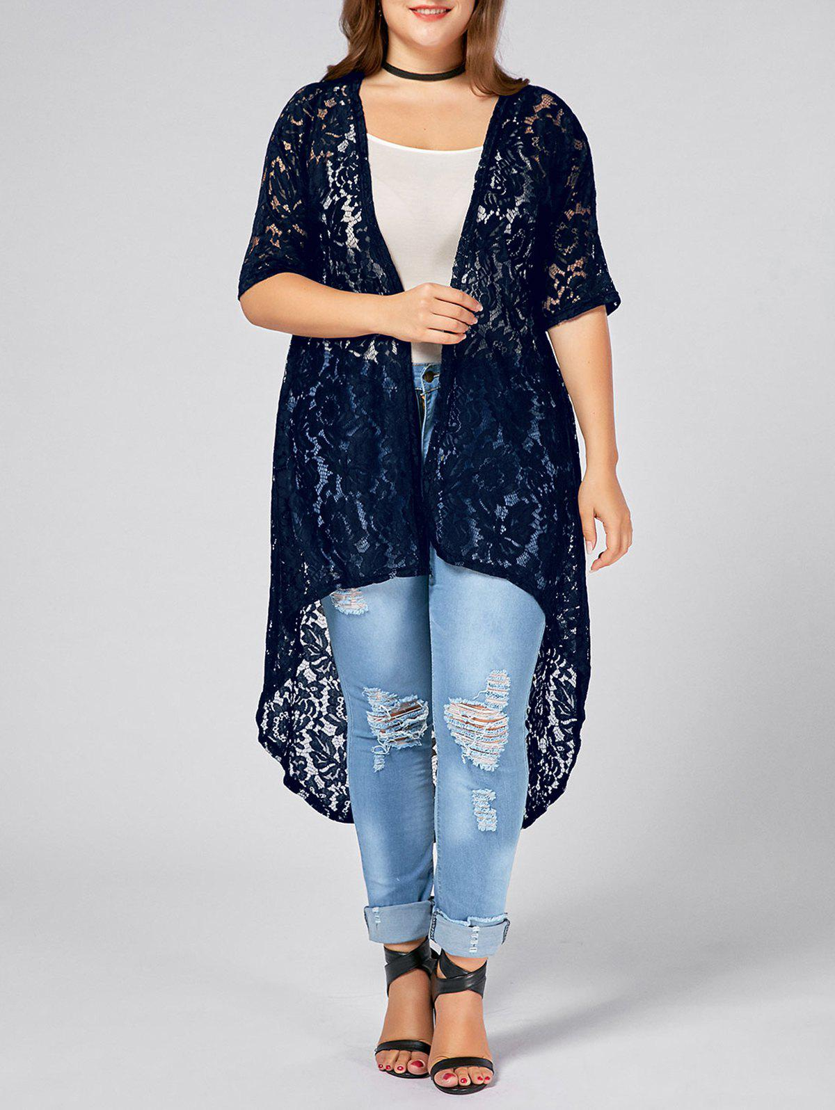 Plus Size Lace Crochet Long Open Front Cardigan open front back lace up hooded cardigan